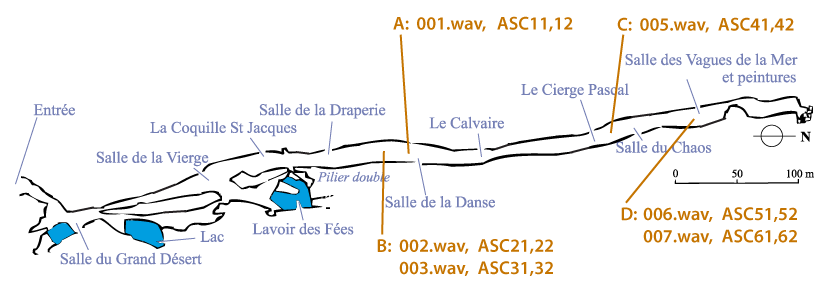 Map of the caves with the locations of source recordings