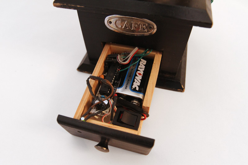 Coffee Grinder, detail of the electronics in the catch basin