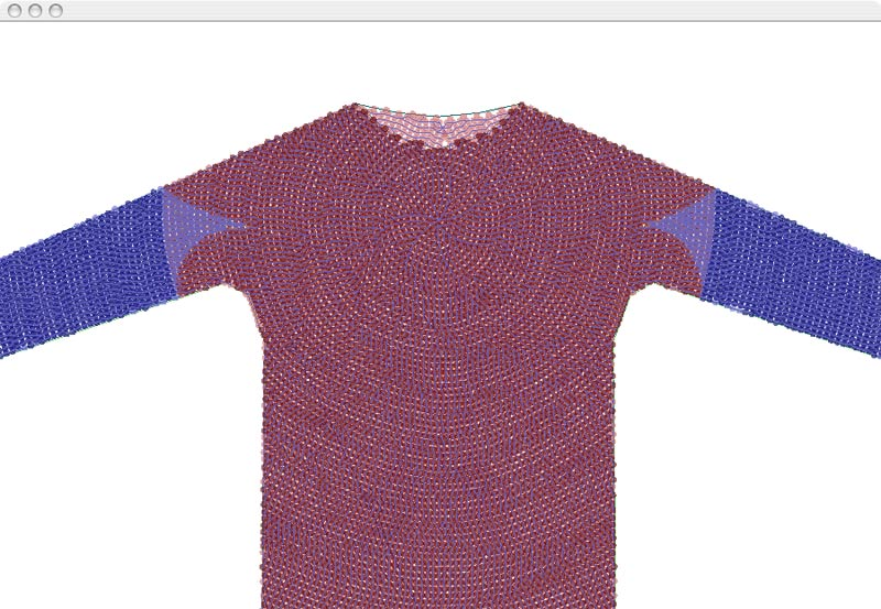 A crochet sweater generated with this application. The crochet pattern radiates out from the center of the chest, seamlessly down the arms and around to the back.